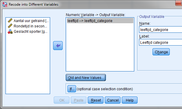 Recode into different variables spss uitleg