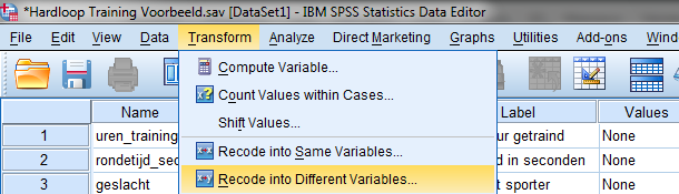 SPSS data variabelen hercoderen menu